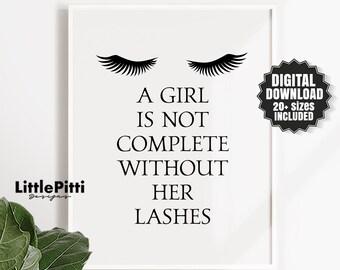 fac4836de56 Makeup vanity, eyelash art, eyelash wall decor, beauty salon quote, teen  girl room decor, makeup quote, salon lashes decor, digital wall art