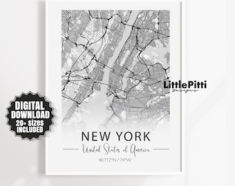 New York United States Of America Coordinates Travel Quote Wall Art Print