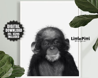 1eb0f84e09 Monkey print, african jungle animal, baby animal nursery art, cute baby  monkey photo, kids room printable, chimpanzee art, download print