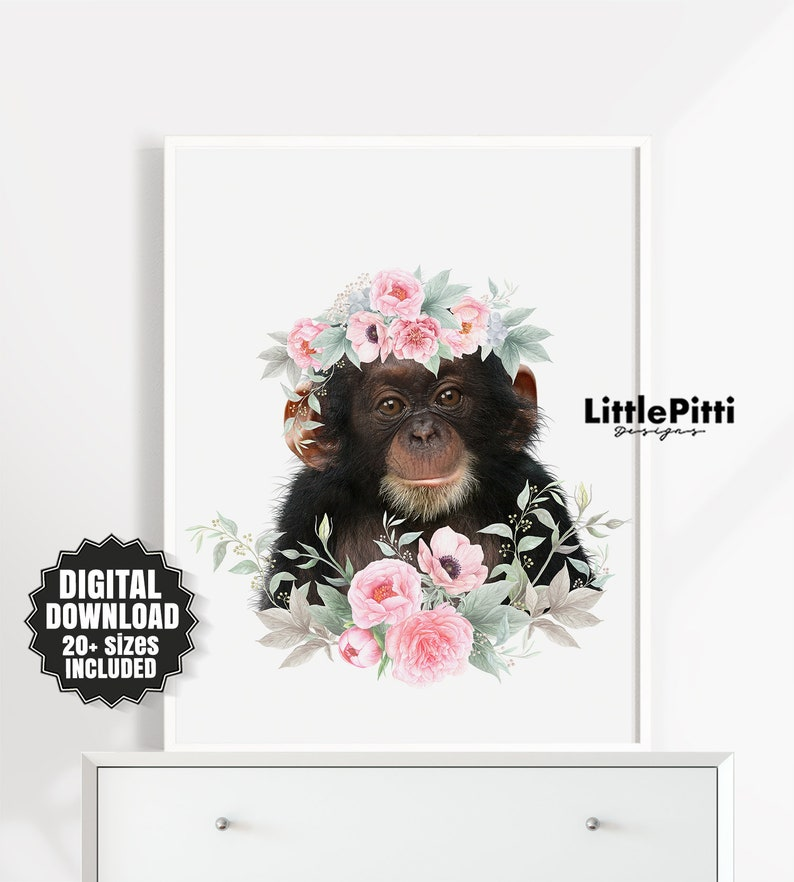 84c9badc14 Monkey Print Baby Girl Room Decor Animal with Flower Crown | Etsy