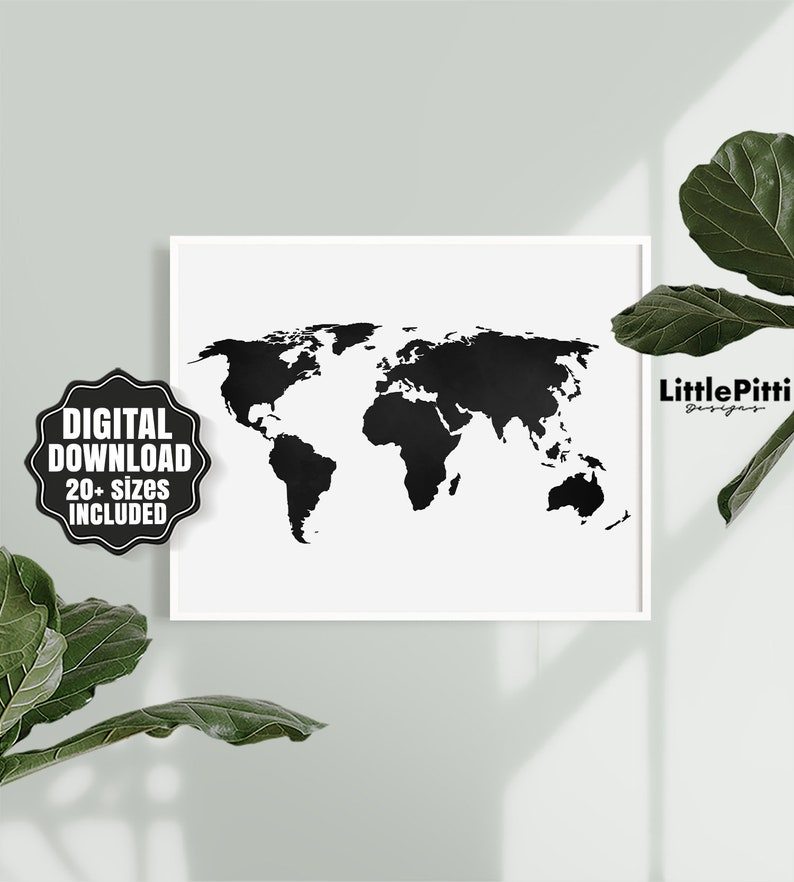 World Map Print World Map Poster Black And White Large Etsy