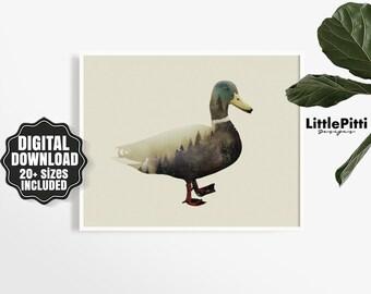 Mallard duck art, double exposure art, duck print, wildlife art, duck gift, vintage duck, idea gift, modern wall art, digital animal print