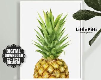 Pineapple decor, Kitchen Wall Art, Tropical Decor, Printable Wall Art, Fruit art