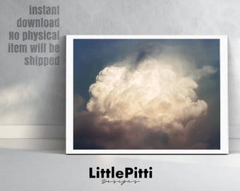 Cloud print, cloud photography, sky print, minimalist print, cute cloud print, cloud photo, cloud printable, photo print, download print