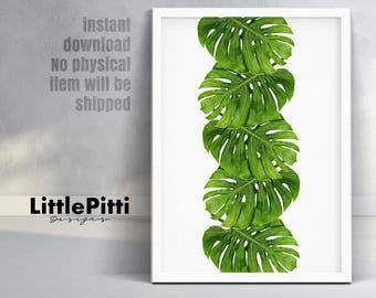 Tropical plants, palm leaf wall art, tropical print, monstera print, tropical decor, modern prints, tropical leaf, modern tropical wall art