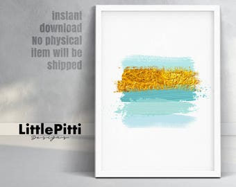 Mint gold decor, vanity decor, brushstroke wall art, glam print, abstract wall art, girl teen room print, mint green decor, download art