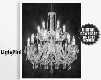 Chandelier print, fashion poster, french decor, chandelier art, vintage chandelier, black and white, fashion wall art, crystal chandelier