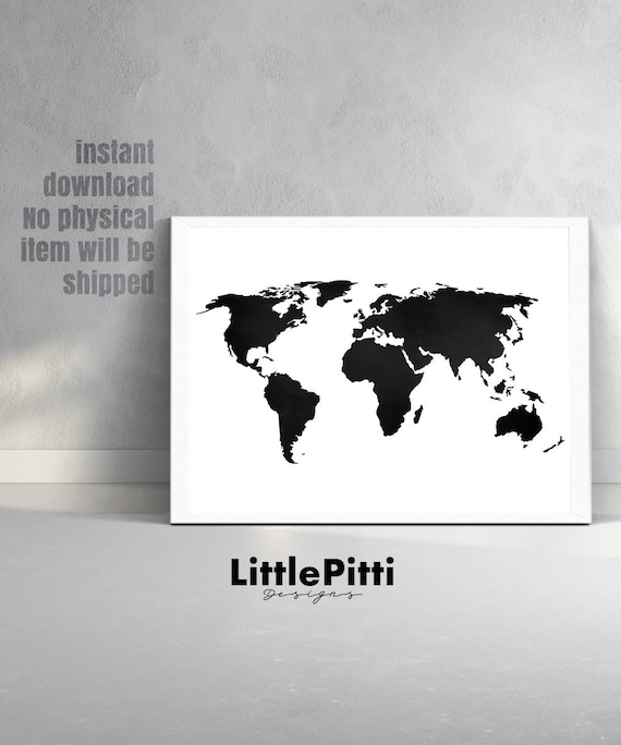 World map print world map poster black and white large etsy image 0 gumiabroncs Choice Image