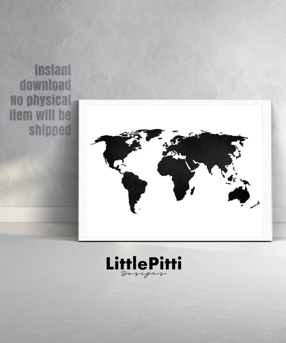 World map print world map poster black and white large etsy image 0 gumiabroncs
