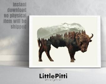 Buffalo print, double exposure, buffalo wall art, bison print, buffalo printable, animal art, bison photo, buffalo photography, american art