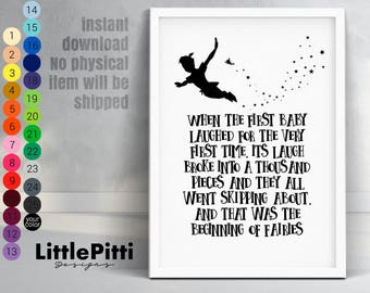 When the first baby laughed, baby shower gift, baby room nursery, baby nursery sign, peter pan baby, new baby gift, download baby shower