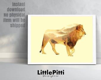 Lion print, Lion art, Double exposure, Lion poster, Lion wall art, animal print, safari print, animal prints, scandinavian art, digital art