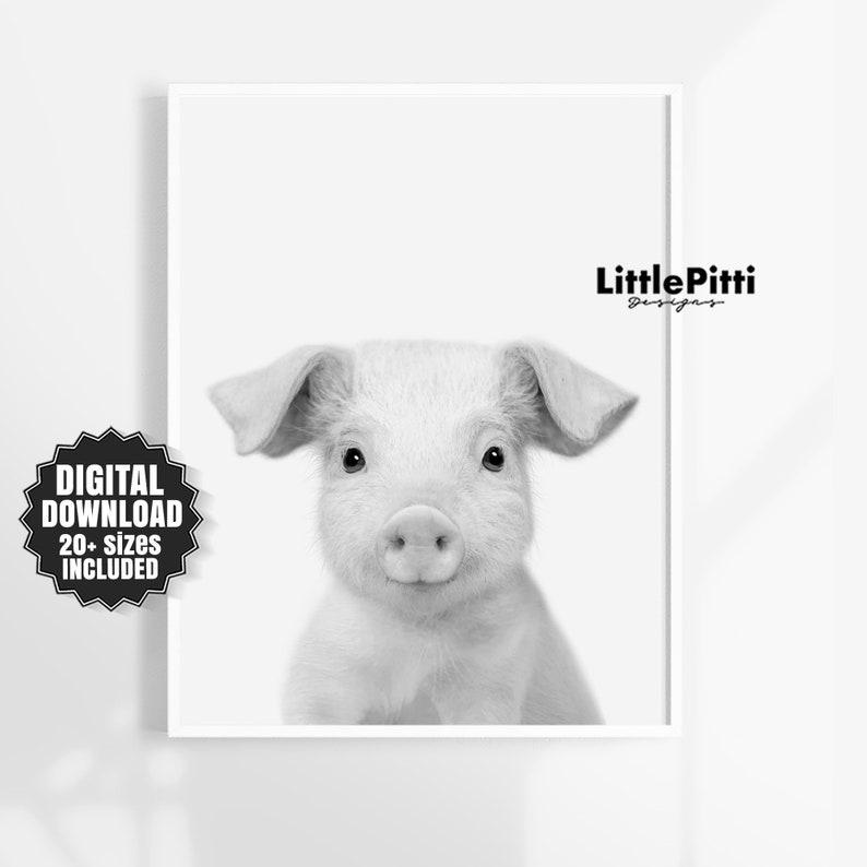 Farm animal print pig print modern farmhouse black white image 0