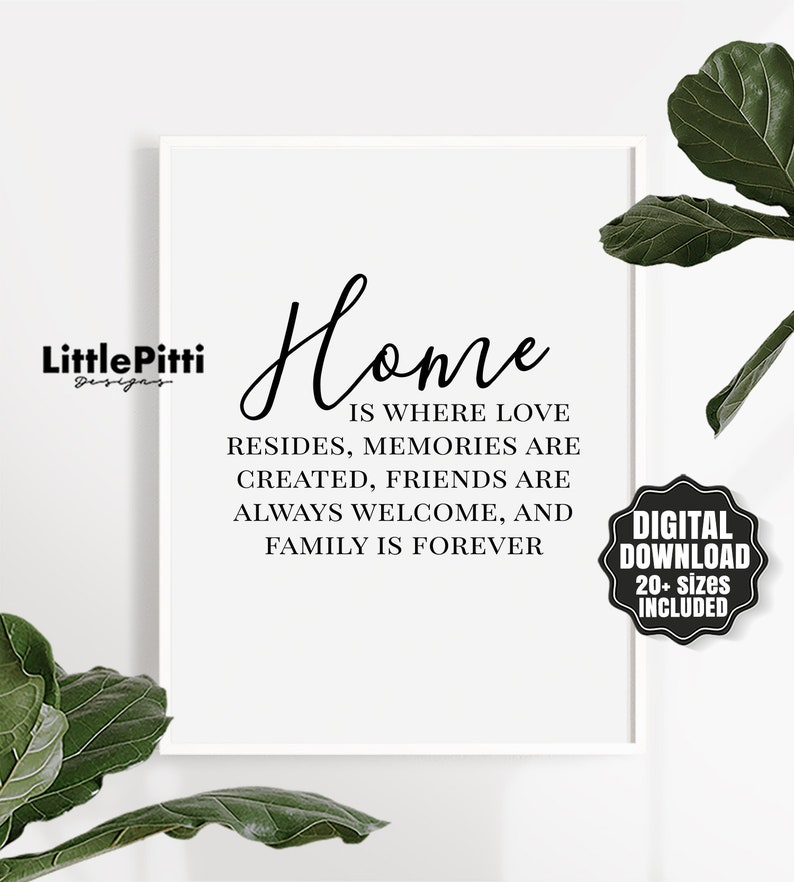 Family Wall Art Decor Home Quotes Printable Home Is Where Etsy