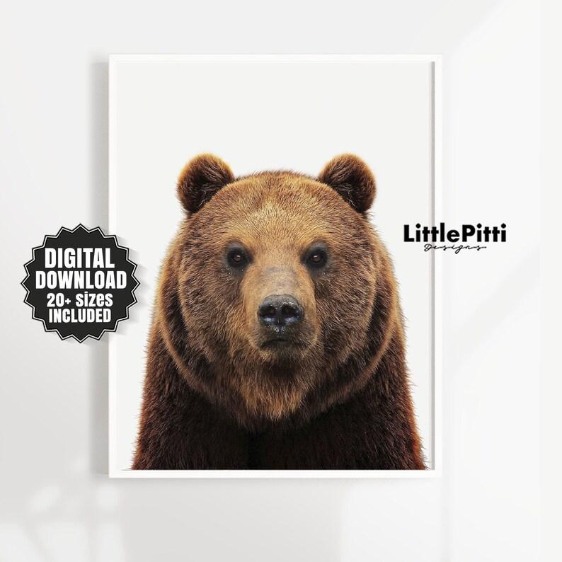 Bear art bear wall art bear decor grizzly bear art nursery image 0