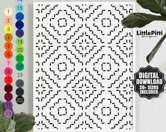 Indigo pattern, Moroccan Art, indigo print, black white art, geometric print, boho wall art, moroccan print, indigo wall art, Wall Prints