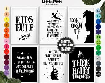 Nursery wall art fairy tales print nursery set of 6 prints, adventure nursery decor, book theme nursery, fairytale party, travel baby shower