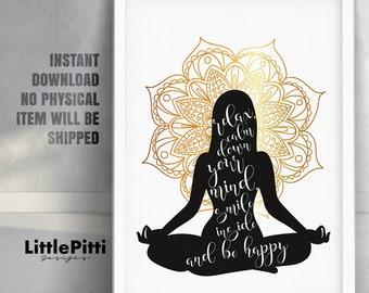 Yoga print, yoga poster, yoga wall art, namaste print, meditation art, yoga gift, yoga wall decor, meditation print, gift for yogi