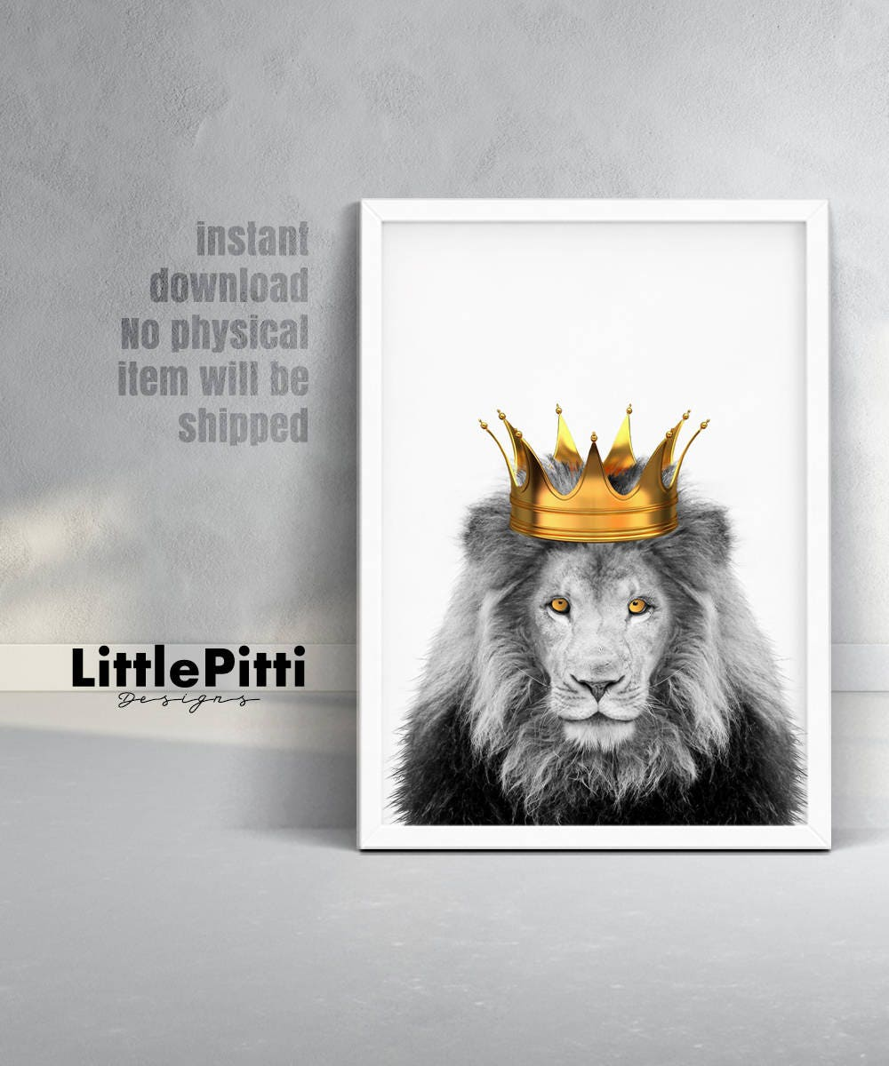 Lion King Art Lion Crown Lion Print Lion King With Crown Etsy