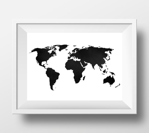 World Map Print, World Map poster, black and white, large world map, black  world map, world map printable, world map silhouette, black map