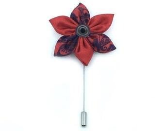 Red Flora Lapel