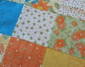 100 Organic Cotton Handmade Patchwork Mini Baby Quilt with Embossed Minky Back 31 quot x 22 quot Oranges, Yellows, Blues