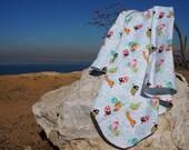 Generous, Oversized, Extra-Large 100 Cotton Multi-Color Bug Print Flannel Receiving Stroller Blanket 36 quot x 42 quot