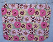 100 Organic Cotton Handmade Minky Baby Quilt with Pink Minky Dot Back 36 quot x 42 quot Pink Floral