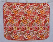 100 Organic Cotton Handmade Minky Baby Quilt with Fluffy Red Minky Back 36 quot x 42 quot Red Yellow Floral