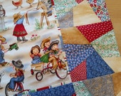 100 Organic Cotton Handmade Baby Quilt with Stripe Flannel Back 32 quot x 44 quot Cute Vintage Cowgirl Cowboy Print and Patchwork Border