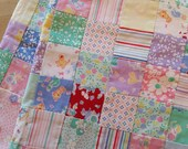 100 Organic Cotton Handmade Patchwork Baby Quilt with Super Soft Pink Minky Dot Back 32 quot x 44 quot Assorted Vintage Prints