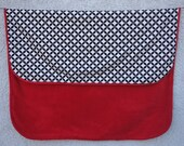 100 Organic Cotton Handmade Baby Quilt with Super Soft Red Fleece Back 36 quot x 42 quot Black White Geometric Print