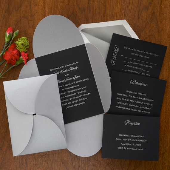 blossom invitations set layered invitation suite silver etsy