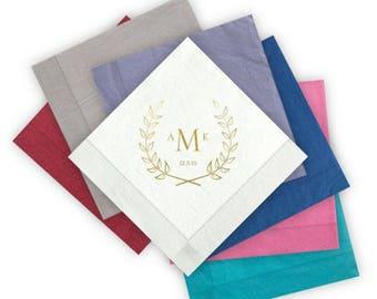 100 Laurel Letterpress Beverage Napkins - 5 x 5 Wedding Napkins, monogram, laurel leaves, wreath, wedding date - AA1000315