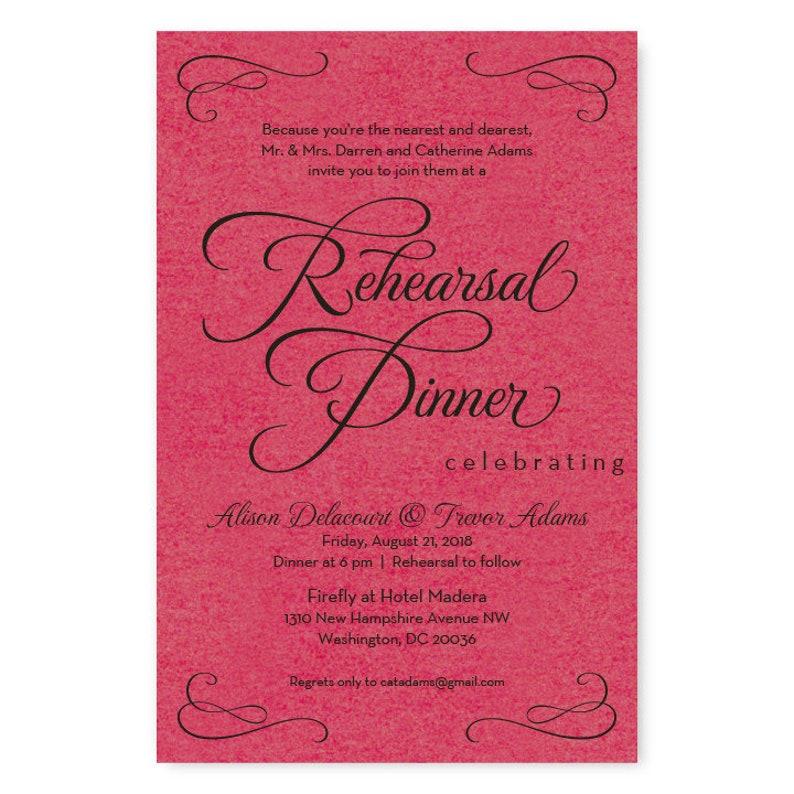 Modern Sweet Script Rehearsal Dinner Invitations  Set of 25  AA6513
