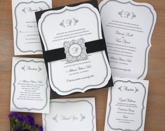 Monogram Wedding Invitation, Layered Wedding Set, Elegant Invitations, Initial Invitations, Die cut frame invitation /Catherine /AV4297