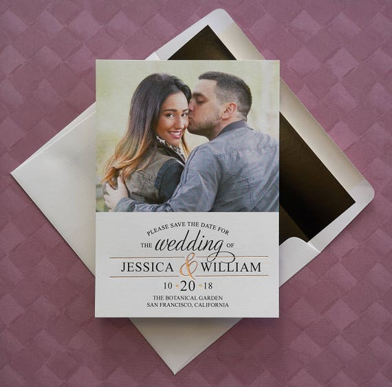Foil Ampersand Photo Save The Date Announcement Cards  AA6604