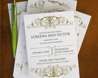 Elegant Save The Date Cards, Engagement Wedding Announcements, Gold filigree design, classic, elegant/Ava Elegant Save The Date Cards/AA4208