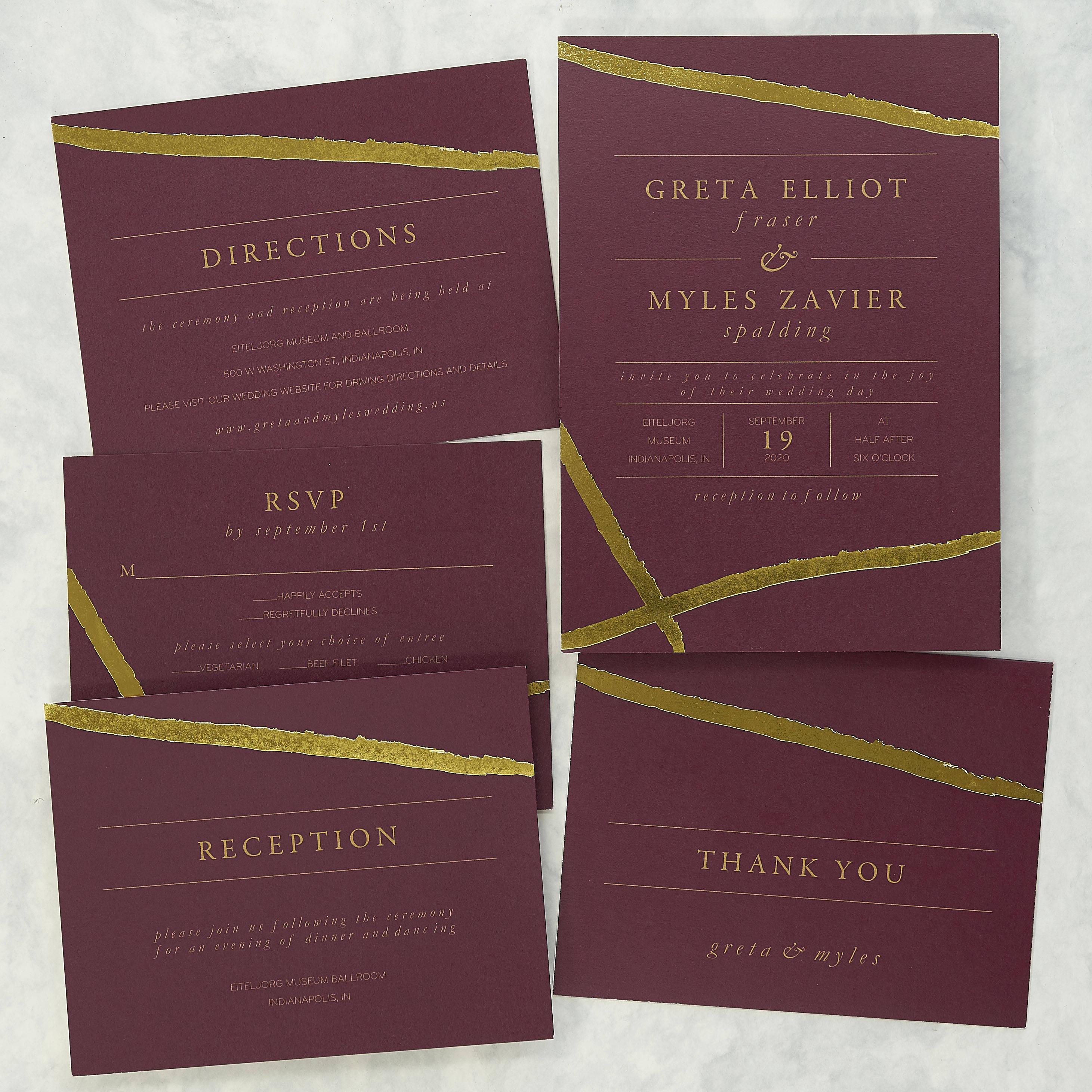 Foil Highlights Wedding Invitation Set Foil invitation | Etsy