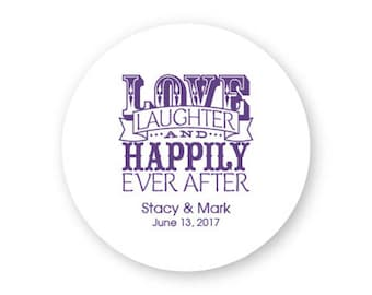 100 Love Laughter, Happily Ever After Coasters - Wedding Coasters, names and wedding date - AA1001411