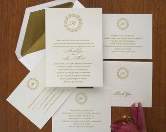 Monogram Invitation, Elegant Wedding, Wedding Invitations, Invitation Set, Wreath Design, Classic Wedding, Simple Invitation /Hannah/AV6626