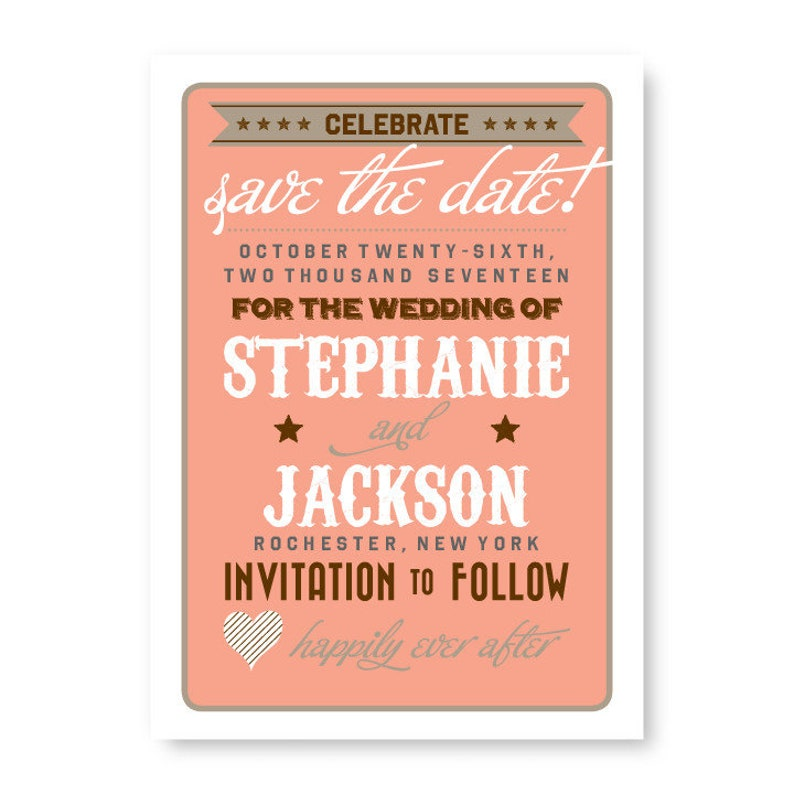 Vintage Fanfare Save the Date Announcement Card  AA4652