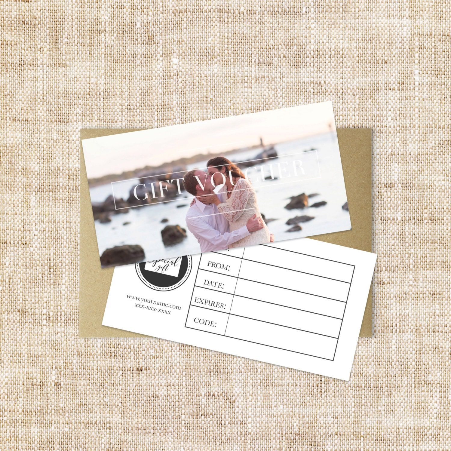 Modern Gift Voucher Design Template Double Sided Photographer Etsy