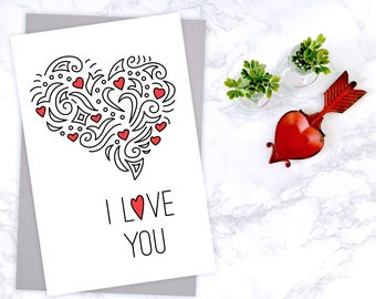 Printable Valentine Card - I Love You - Heart Doodle - 4x6 greeting card