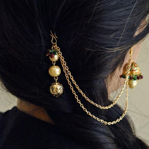 Hand Made Enamel Earrings With Sleek Beaded Hair Chain Jhumka Etsy