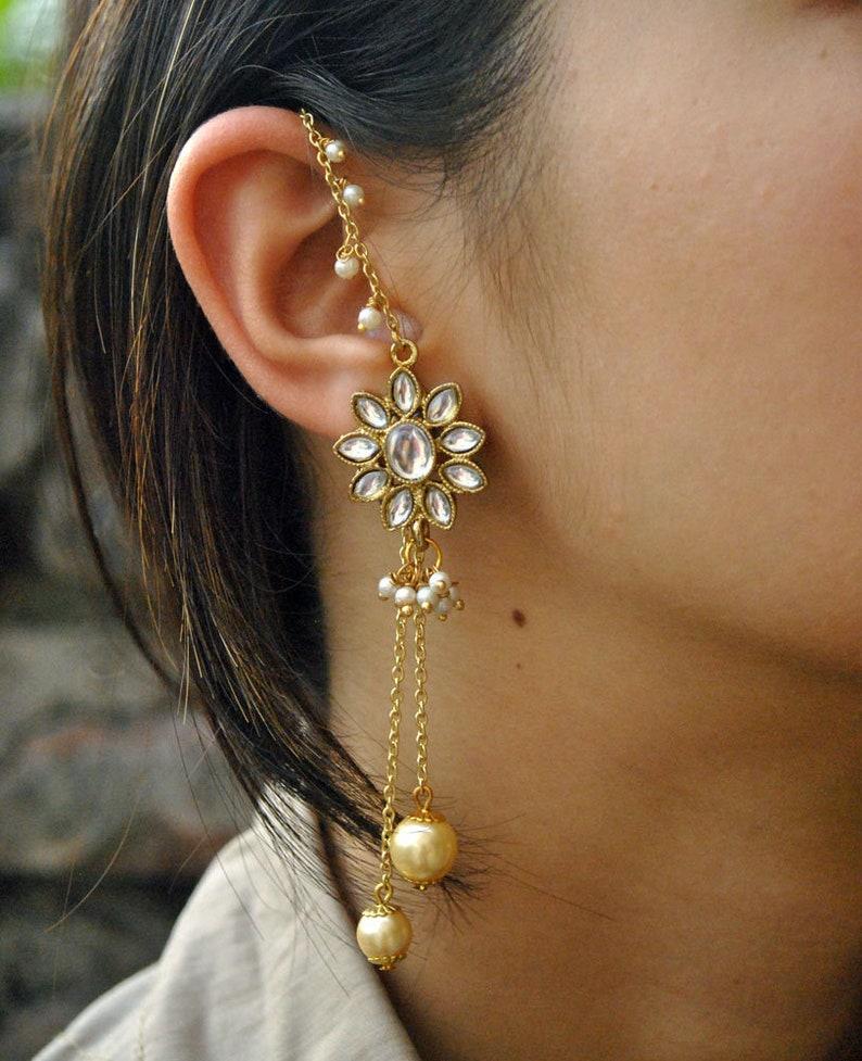 e952c15fd Golden Kundan Kanauti Earrings Flower Shape Earrings | Etsy