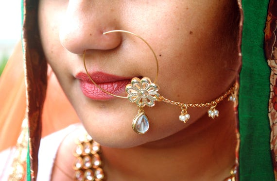 Wedding Nose Accessory White Dangling Pearl Nath Golden Rose With Pearl Beaded Chain Traditional Indian Nose Ring Flower Nose Chain