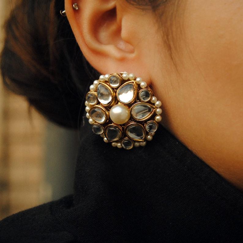 e3185fda4 Kundan Flower Stud Traditional Indian Earrings Handmade | Etsy