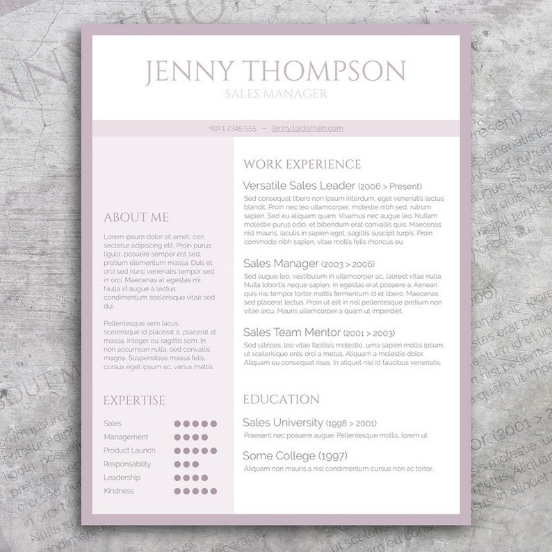 Resume Template / CV Template + Cover Letter for MS Word | Professional and  Creative Resume Design | Sweet Lila | Instant Download