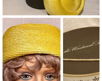 99a97d8e0a8a4 Vintage 1960 s Bright Yellow Pillbox Hat with Box-Perfect Condition-Very  Jackie O!